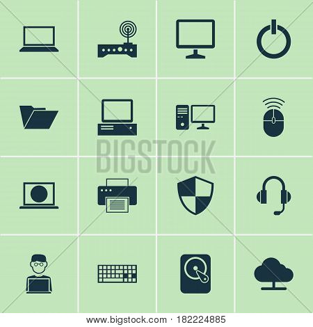 Notebook Icons Set. Collection Of Web, Router, Tree And Other Elements. Also Includes Symbols Such As Hdd, File, Monitor.