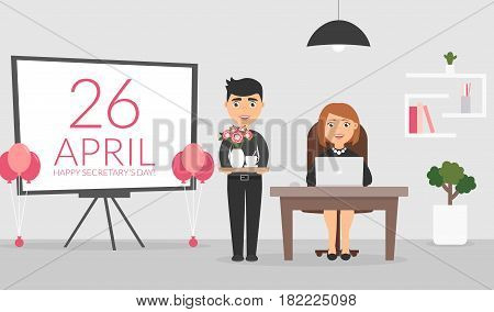 Office room. Male office worker wishes his female colleague a Happy Secretary's Day and presents a coffe and bouquet of flowers. Businesswoman and businessman the on working. Flat design vector.