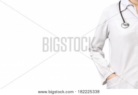 Woman doctor with a stethoscope. Isolated on white.