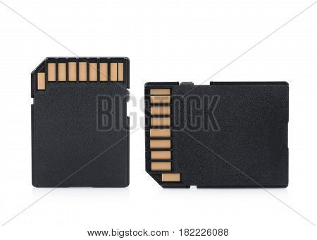 CloseUp memory card on white background. technology