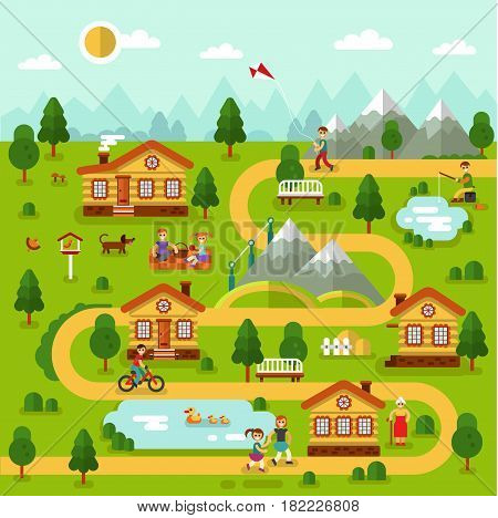 Flat design vector illustration of mountain village map with houses, ponds, road. People spend time on picnic, old woman walking, boy with kite, cyclist, fisherman.
