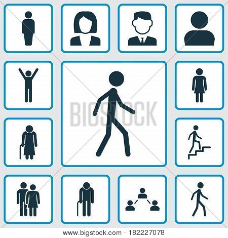 People Icons Set. Collection Of Grandpa, Female, User Elements. Also Includes Symbols Such As Jogging, Avatar, Gentlewoman.