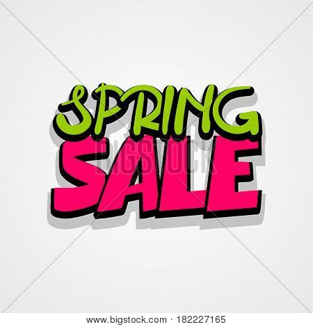 Spring sticker rates. Comic text font lettering. Sale advertising web label badge. Vector illustration best price and discount. Special offer tag colored paper banner for print.