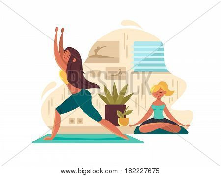 Young girls practicing yoga. Mental meditation and concentration. Vector illustration