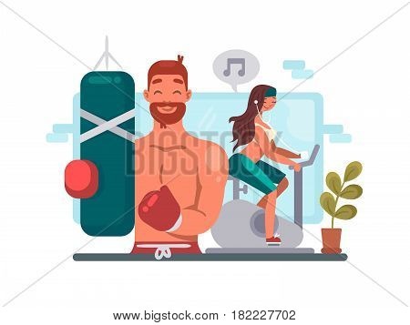 Man and woman training in gym. Guy boxing, girl riding bicycle. Vector illustration