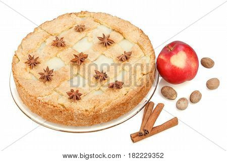 Apple pie with red apple cinnamon anise nutmeg. Isolated on white background. Red apple with heart.