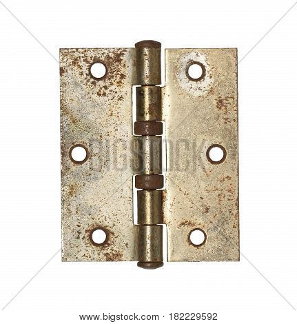 Rusty door hinge isolated on white background