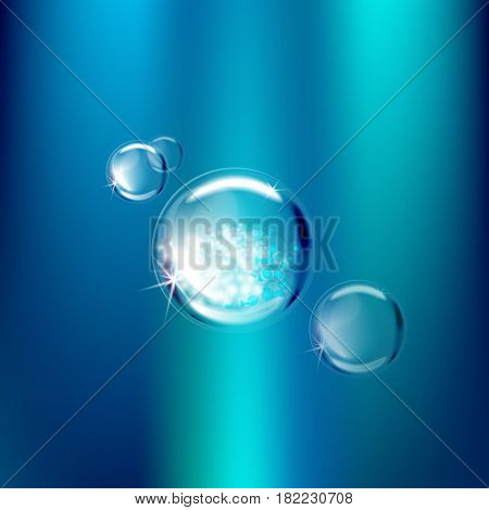 Transparent Soap bubbles water droplets on blue background. Bubbles for the design of advertising goods. Bubbles with reflection vector illustration
