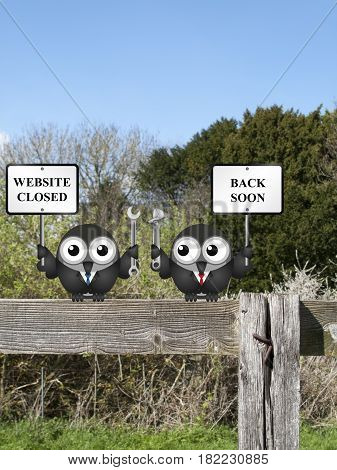 Comical website closed due to maintenance back soon message with bird IT technicians perched on a countryside fence