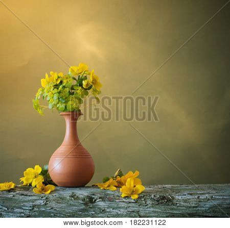 the still life with yellow spring flowers