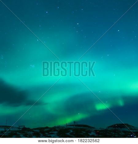 Picturesque Unique Nothern Lights Aurora Borealis Over Lofoten Islands in Nothern Part of Norway. Square Image Orientation