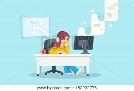 Girl sitting at a table behind a computer looking at the computer screen. Girl watching social network. Internet surfing concept. Flat vector illustration.