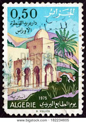 ALGERIA - CIRCA 1975: a stamp printed in Algeria shows Post Office Al-Kantara circa 1975