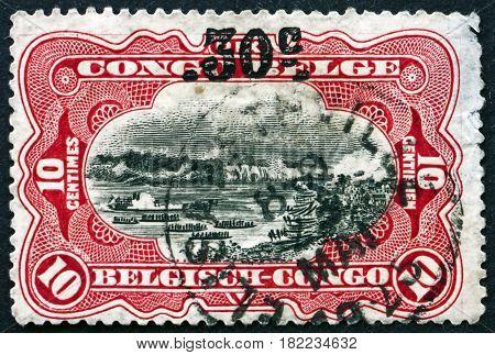 BELGIAN CONGO - CIRCA 1922: a stamp printed in Belgian Congo shows Stanley Falls Congo River circa 1922