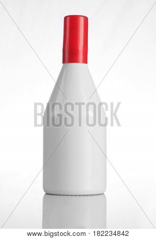 White Perfume Bottle with Red Cap for Mockups
