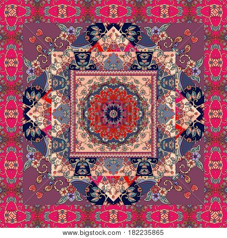 Festive bandana print blanket pillowcase rug. Beautiful patchwork pattern.