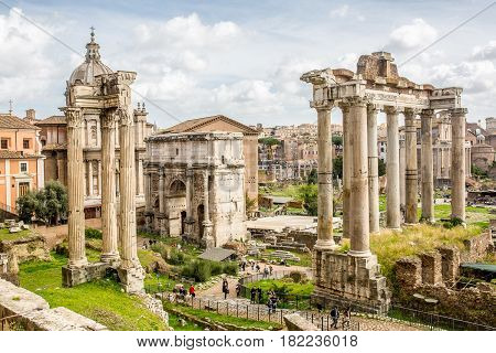 Italy. Rome. Multifaceted eternal city under a blue sky