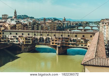 Italy. Florence. The famous bridge Ponte Vecchio