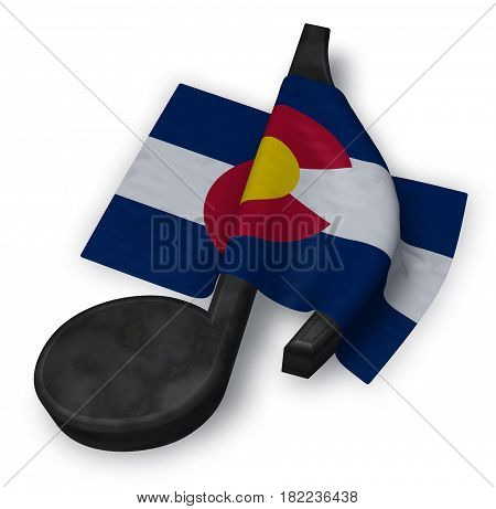 music note symbol and flag of colorado - 3d rendering