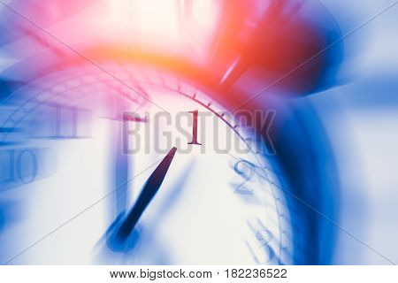 Clock Time With Zoom Motion Blur Focus At 1 O'clock, Fast Speed Business Hour Concept.