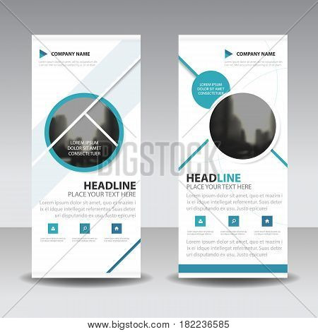 Blue circle roll up business brochure flyer banner design cover presentation abstract geometric background modern publication x-banner and flag-banner layout in rectangle size.