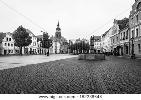 COTTBUS GERMANY - OCTOBER 18 2016: The historic part of town (Alt Markt). Cottbus is a university city and the second-largest city in federal state of Brandenburg. Black and white.