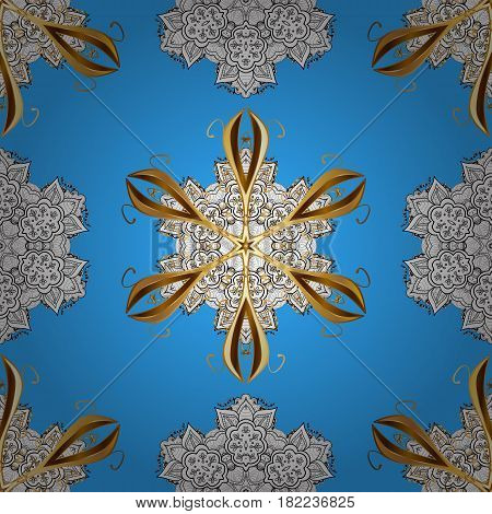 Traditional orient ornament. Vector illustration. Classic vintage background. Seamless pattern on blue background with golden elements. Seamless classic vector golden pattern.