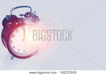 braking times time's up or time out concept explosive broken clock or time bomb explode burst fire burn out old clock with dispersion effect with space for text.