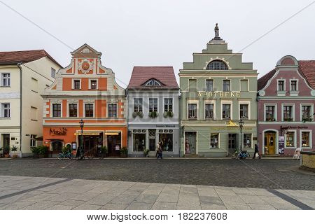 COTTBUS GERMANY - OCTOBER 18 2016: The historic part of town (Alt Markt). Cottbus is a university city and the second-largest city in federal state of Brandenburg.