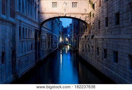 Ponte dei Sospiri in Venice at dusk, Italy
