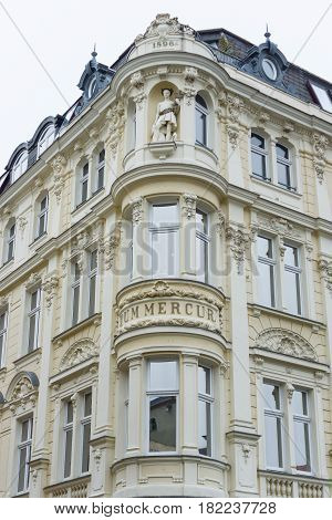 COTTBUS GERMANY - OCTOBER 18 2016: The beautiful facade of the old building in the historic part of town (Alt Markt). Cottbus is a university and the second-largest city in federal state of Brandenburg.
