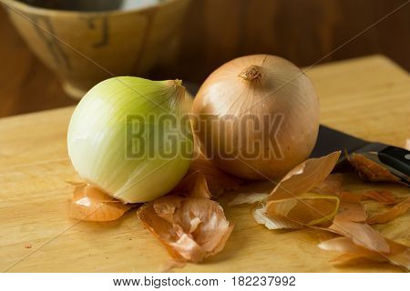 Fresh Onions. Onions Background. Ripe Onions.ripe Onion On Wooden Background. Selective Focus