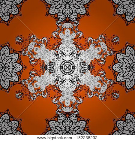 Damask seamless pattern repeating background. Golden floral ornament in baroque style. Antique white repeatable sketch. Golden element on orange background.