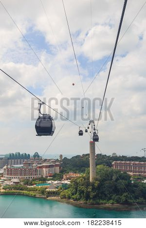 Cable car in Sentosa island at Singapore