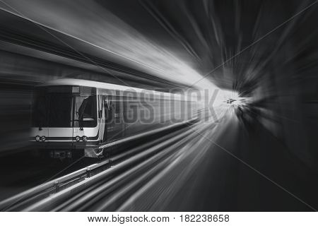 High Speed Business Train Transport And Technology Concept, Acceleration Super Fast Speedy Motion Zo