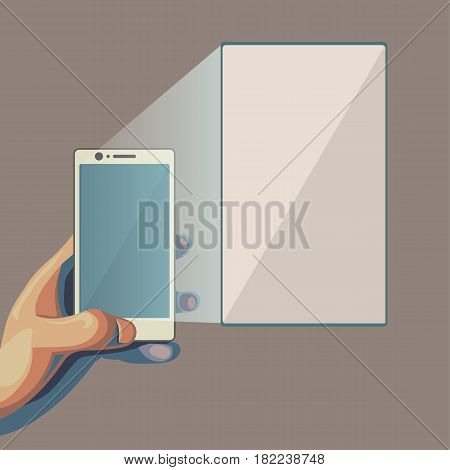 Smartphone in hand. Focusing on the larger screen. Isolated flat style illustration.