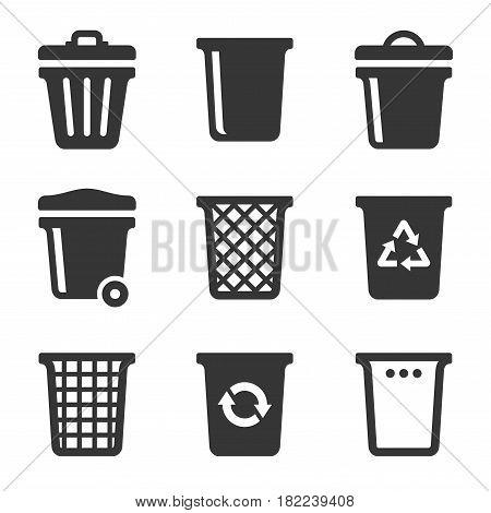 Garbage Icons Set on White Background. Vector illustration