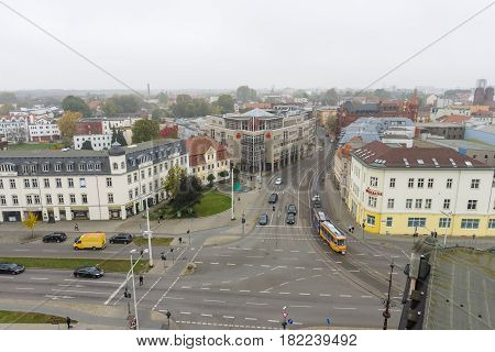 COTTBUS GERMANY - OCTOBER 18 2016: The city center. View from above. Cottbus is a university city and the second-largest city in federal state of Brandenburg.