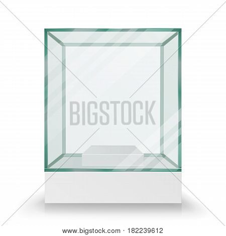 Empty Transparent Glass Box Cube Vector. Realistic Cube