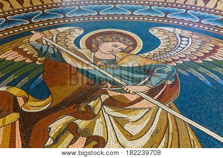 BERLIN - DECEMBER 08 2016: Detail of the floor mosaic with the image of St. George in the Kaiser Wilhelm Memorial Church.