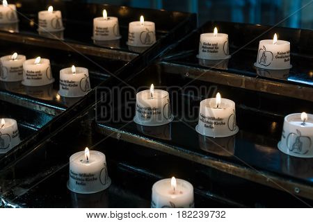 BERLIN - DECEMBER 08 2016: The funeral candles in the Kaiser Wilhelm Memorial Church.