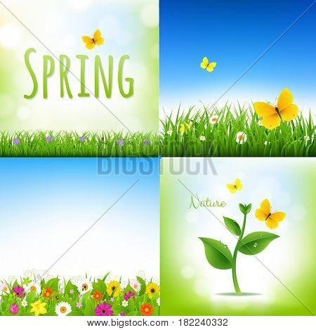 Spring Nature Backgrounds With Grass Border And Flowers
