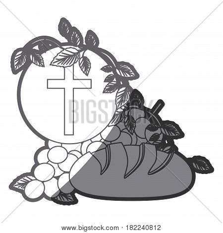grayscale silhouette of communion religious icons vector illustration