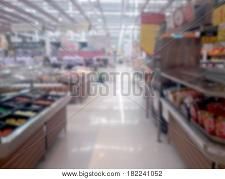 blurred photo, Blurry image, Food department at the supermarket, background
