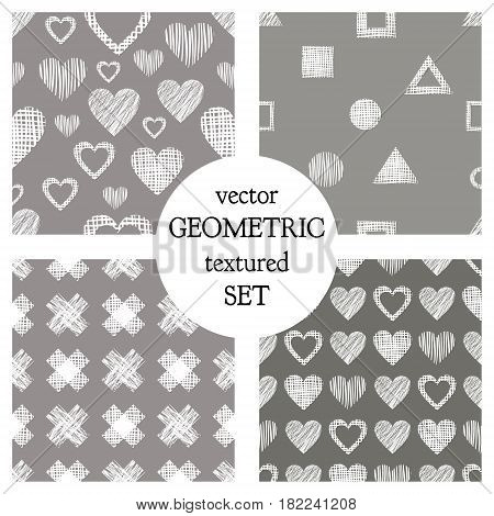 Set Of Seamless Vector Geometrical Patterns With Hearts. Pastel Endless Background With Hand Drawn T