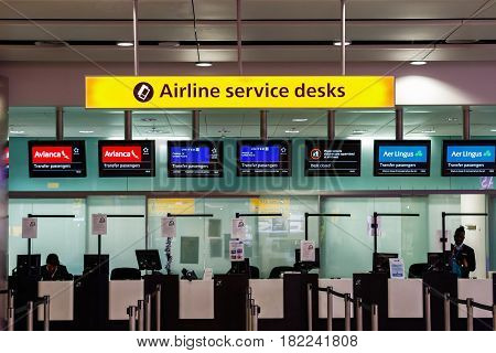 London UK - December 24 2016 - Airline services desks for transfer passengers at Heathrow Airport