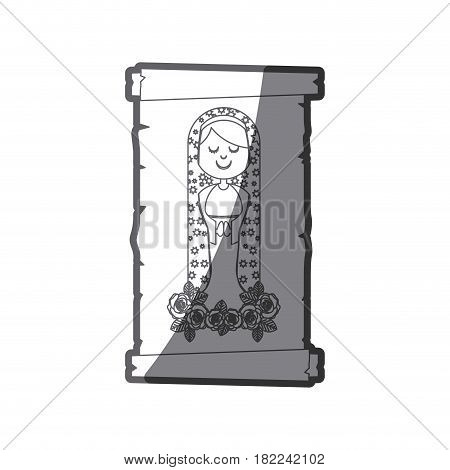 grayscale silhouette of canvas of virgin of guadalupe with floral ornament of roses vector illustration