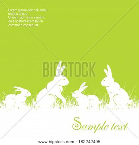 Rabbits in grass & text different rabbits silhouette on green background animal vector illustration for farm and ranch