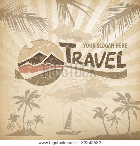 Travel logo pastel round symbol with stylized landscape and text concept sign for travel agency vector illustration