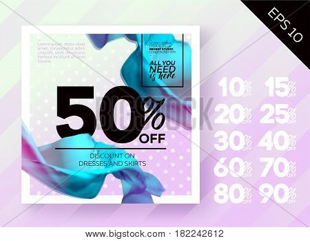 Romantic Spring Sale Poster with Polka Dot Lavender Background and Flying Silk. Ready Bright Vector Sale Template. Advertising For Shop Online Store Web Banner Poster Flyer.